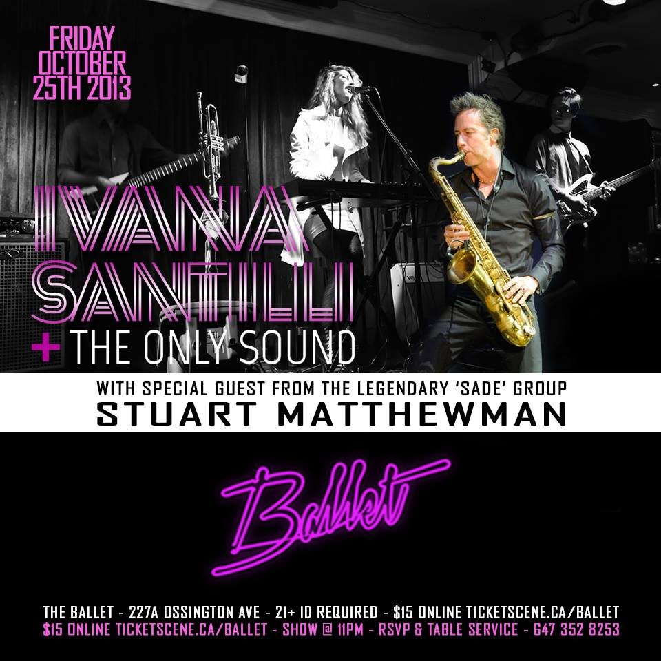 Ivana Santilli with Stuart Matthewman of Sade and Sweetback at Ballet Lounge